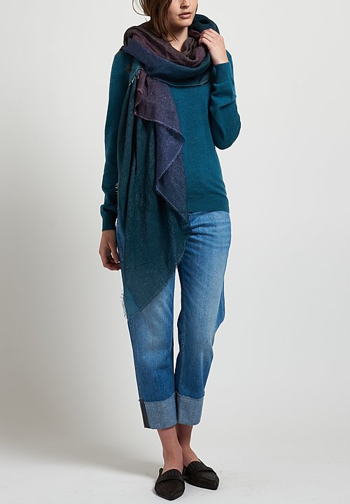 Brunello Cucinelli V-Neck Monili Sweater in Teal