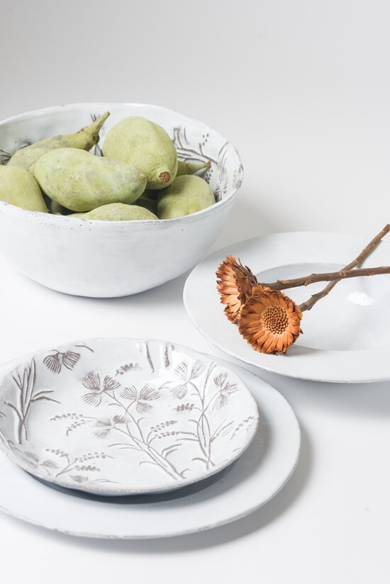 Astier de Villatte Robinson Small Soup Plate in White & Grey