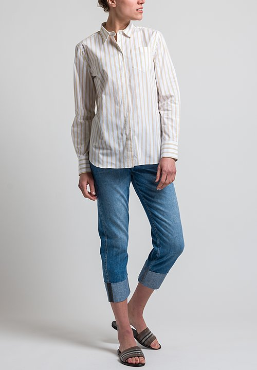 Brunello Cucinelli Bar Stripe Shirt in Gold Stripe