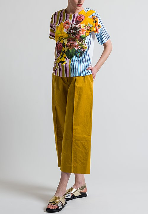 Marni Cotton Craven Jersey Crew Neck T-Shirt in Maize