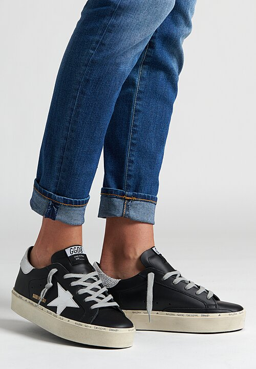 Golden Goose Hi Star Sneaker in Black / Shiny Star