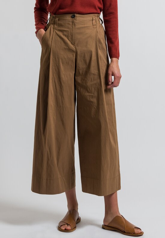 Peter O. Mahler Stretch Linen Culottes in Camel