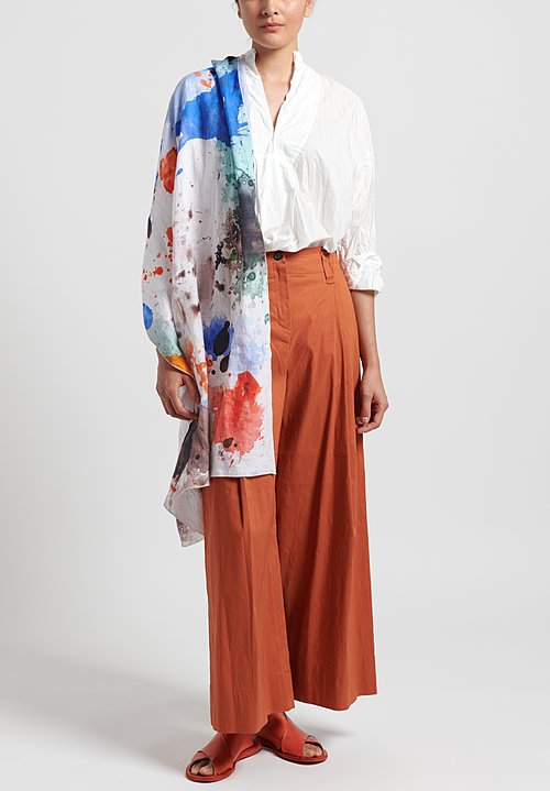 Peter O. Mahler Stretch Linen Culottes in Orange