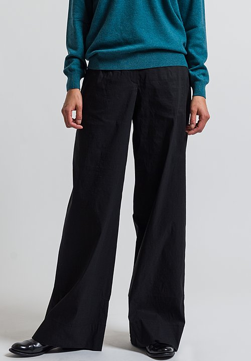 Peter O. Mahler Long Wide Leg Pants in Black