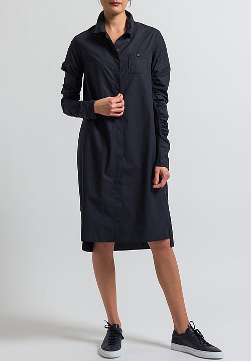 Rundholz Gathered Sleeve Shirt Dress in Black