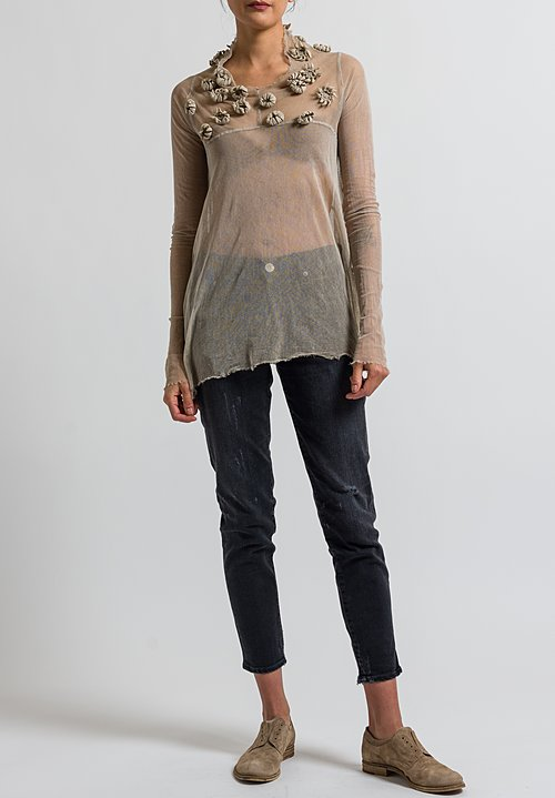 Rundholz Dip Mesh Flower Embellished Top in Umbra