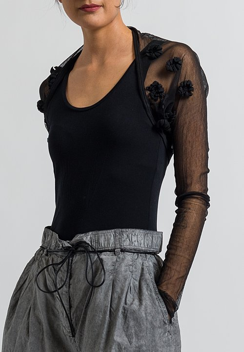 Rundholz Dip Embellished Mesh Flower Shrug in Black