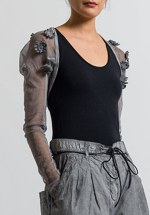 Rundholz Dip Embellished Mesh Flower Shrug in Coal