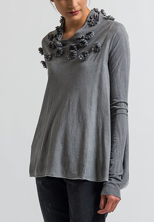 Rundholz Dip Jersey Floral Embellished Top in Coal