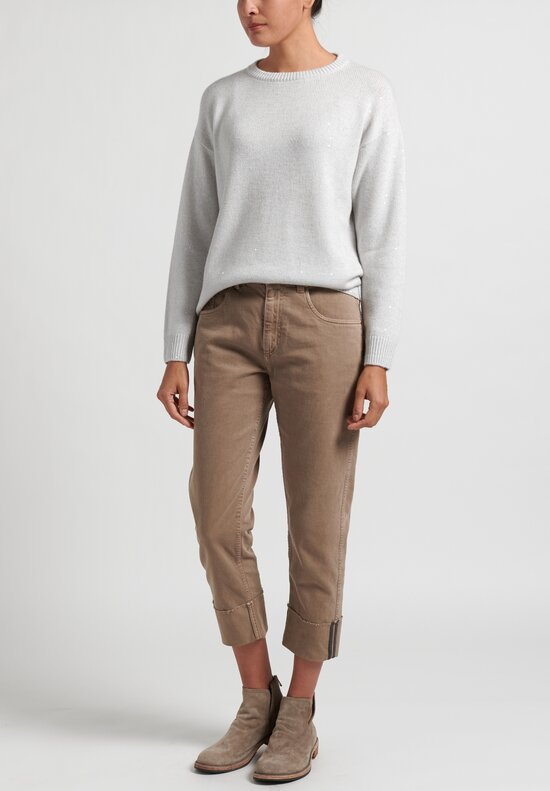 Brunello Cucinelli Comfort Denim Cuffed Monili Jeans in Light Brown