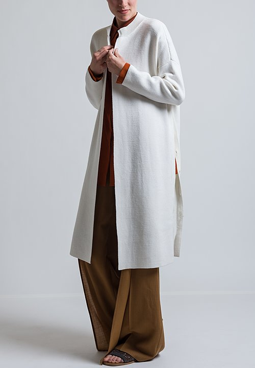 Agnona Crewneck Cardigan in White