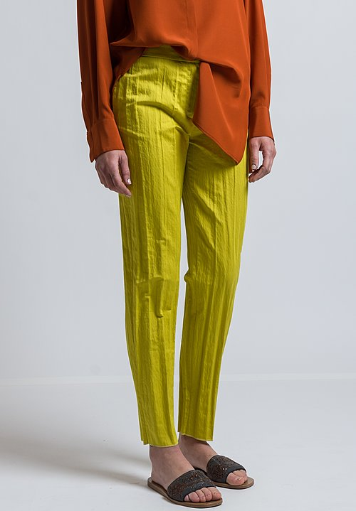 Agnona Long Formal Trousers in Chartreuse