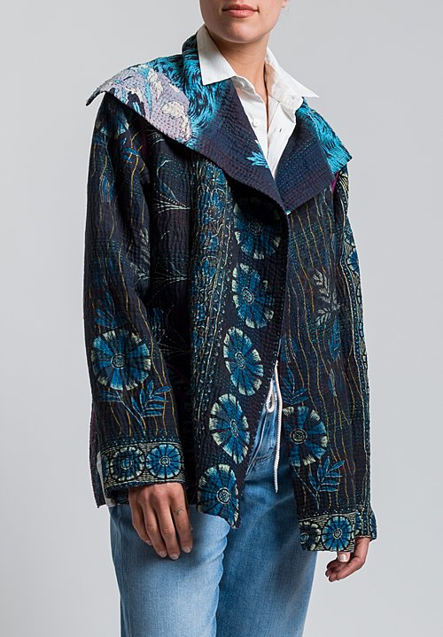 Mieko Mintz 4-Layer Vintage Cotton Fitted Jacket in Black/ Aqua