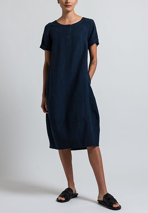 Oska Linen Pleni Dress in Navy