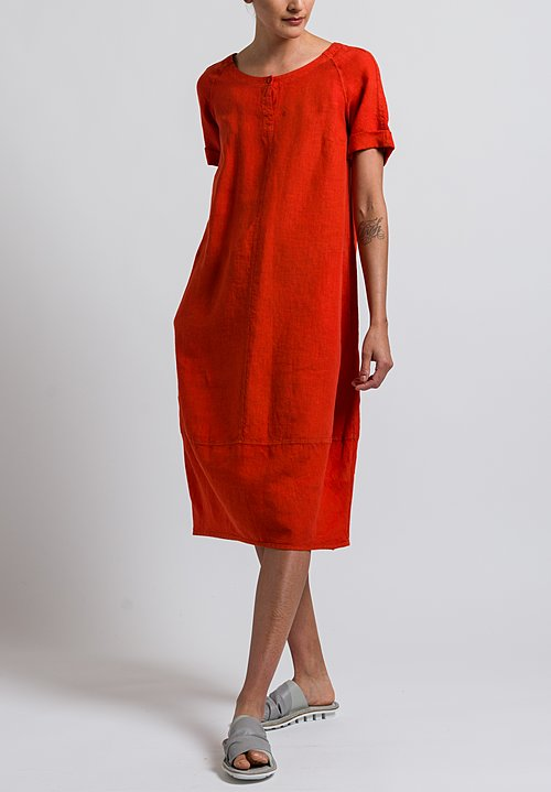 Oska Linen Pleni Dress in Poppy