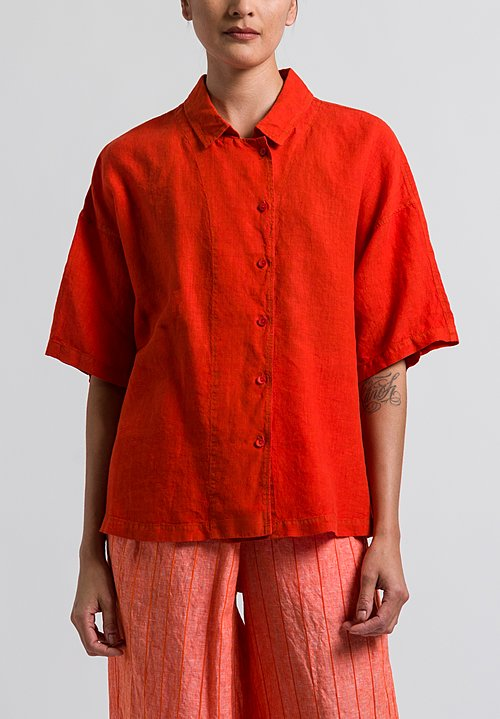 Oska Linen Ameria Shirt in Poppy