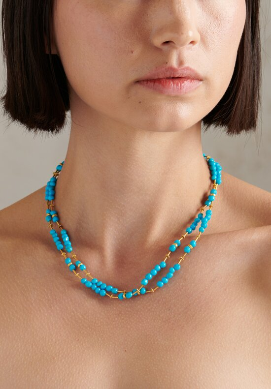 Greig Porter 18K, Sleeping Beauty Turquoise Short Round Bead Necklace