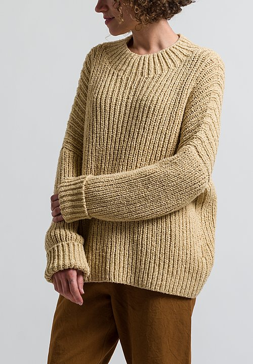 Lauren Manoogian Rib Boucle Pullover in Straw