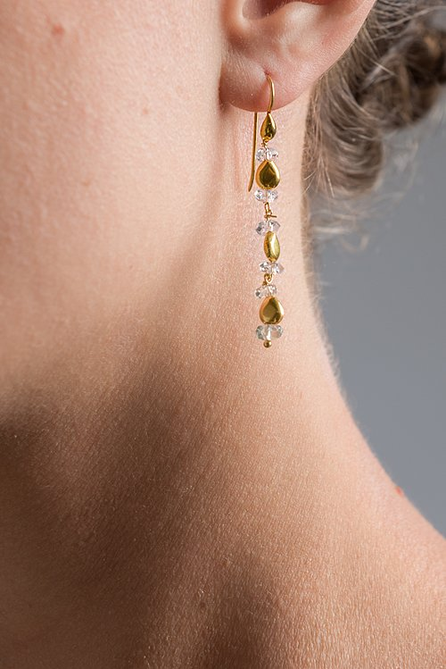 Greig Porter 18K, Herkimer Diamond Quartz Dangle Earrings