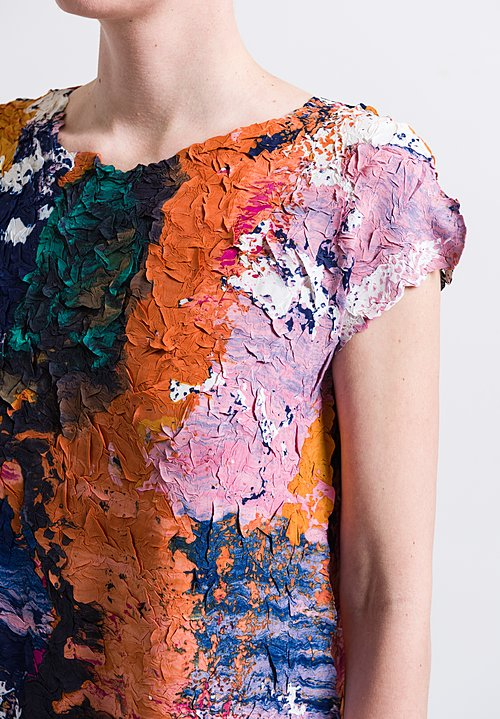 Issey Miyake Paint Crush Dress in Orange Multi