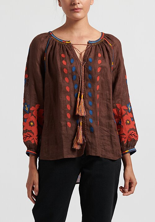 Vita Kin Flowering Ivy Blouse in Brown/ Terracotta