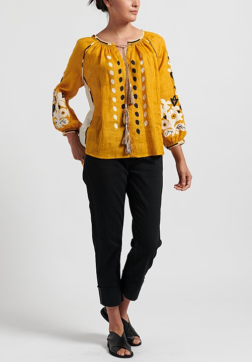 Vita Kin Flowering Ivy Blouse in Mustard/ Multi