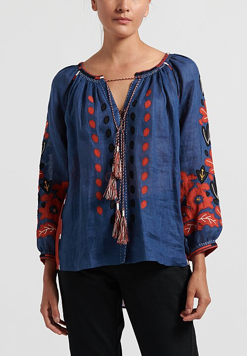 Vita Kin Flowering Ivy Blouse in Cobalt/ Multi