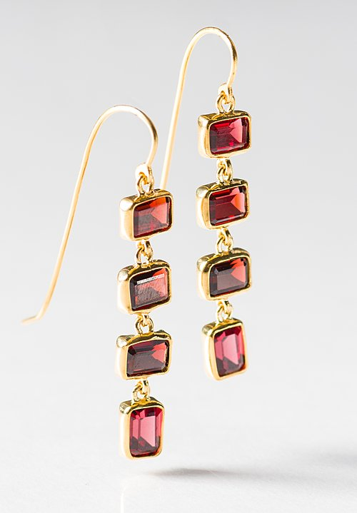 Greig Porter 22K, Garnet 4-Drop Rectangle Earrings