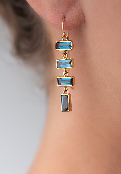 Greig Porter 22K, L.B. Topaz 4-Drop Rectangle Earrings