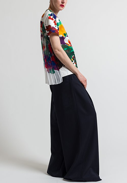 Sacai Pleated Back Flower Top in White