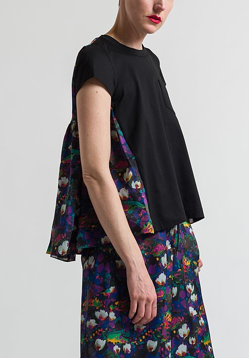 Sacai Flower Printed Back Top in Black