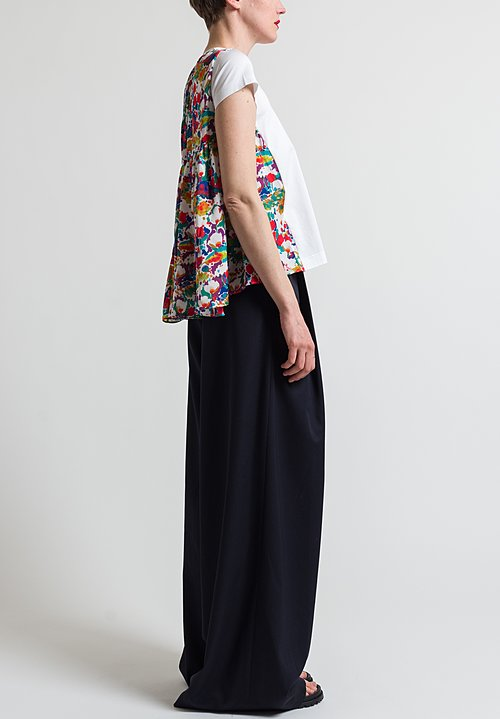 Sacai Flower Printed Back Top in White
