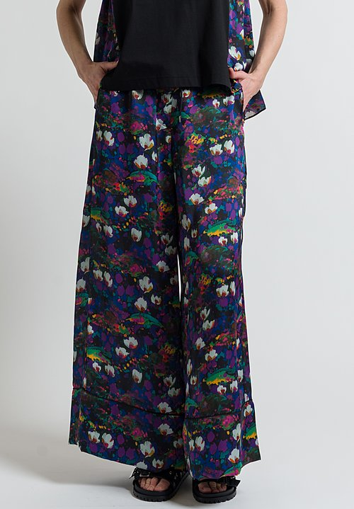 Sacai Floral Printed Pajama Pants in Black
