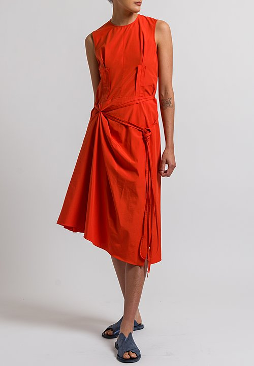 Marni Poplin Tie Dress in Poppy Red
