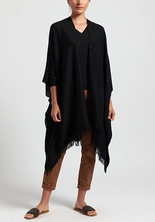 Brunello Cucinelli Paillette Poncho in Black
