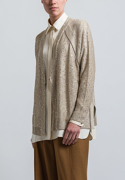 Brunello Cucinelli Monili Cardigan in Beige