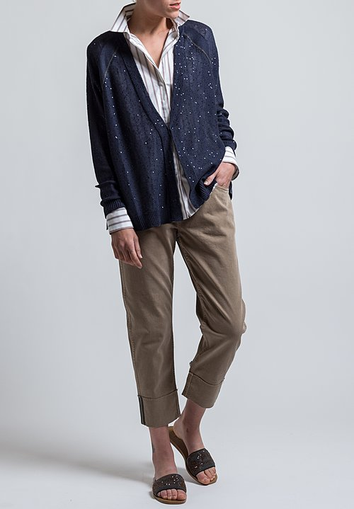 Brunello Cucinelli Monili Cardigan in Navy Blue