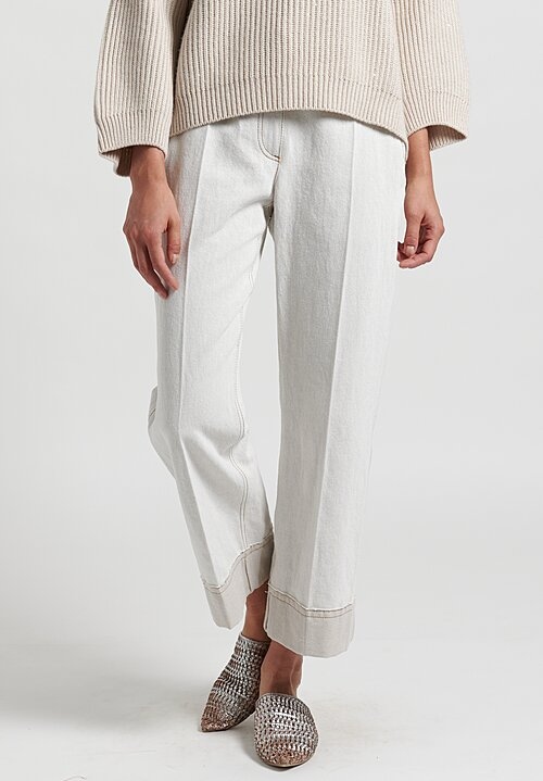 Brunello Cucinelli Wide Leg Trousers in Off White