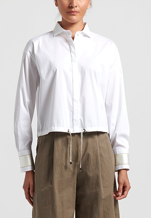 Brunello Cucinelli Cutaway Collar Shirt in White