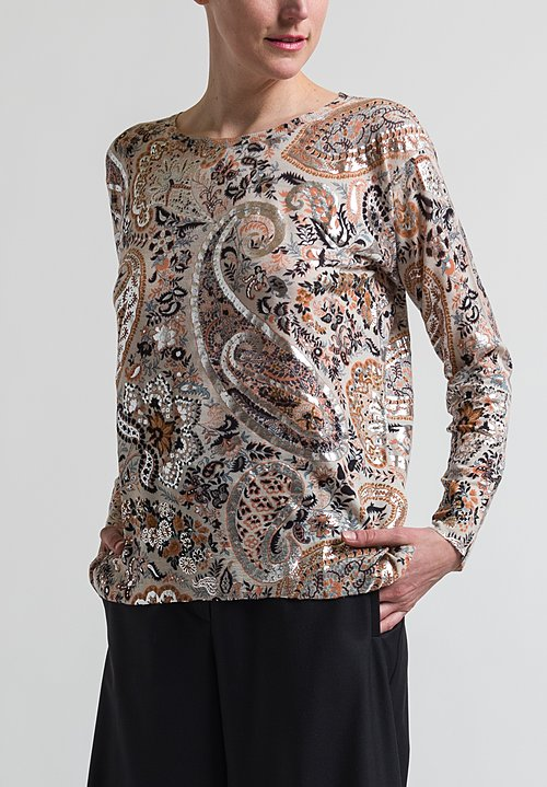Etro Paisley Print Sweater in Beige