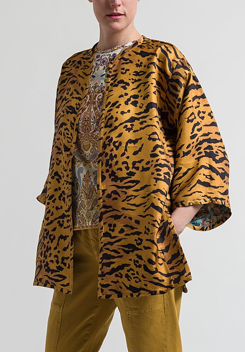 Etro Reversible Paisley & Tiger Print Jacket in Sky Blue