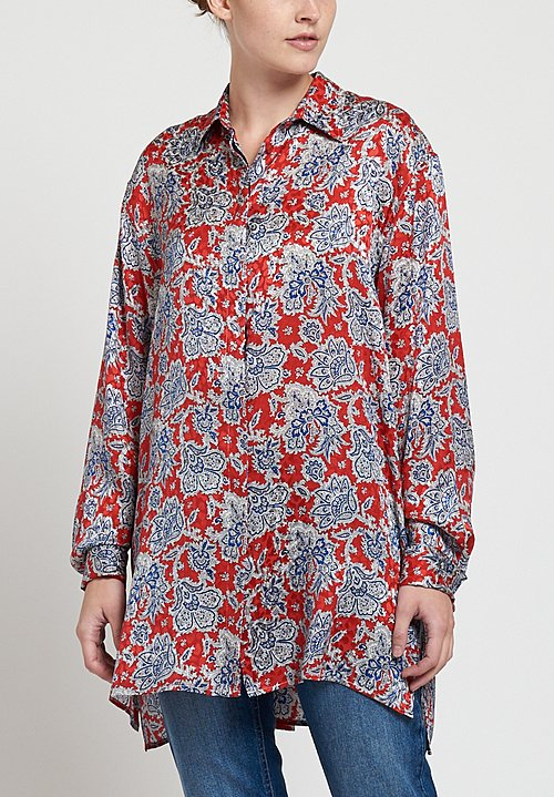 Etro Jacquard Paisley Flower Print Blouse in Red