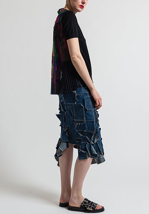 Sacai Pleated Flower Back Top in Black