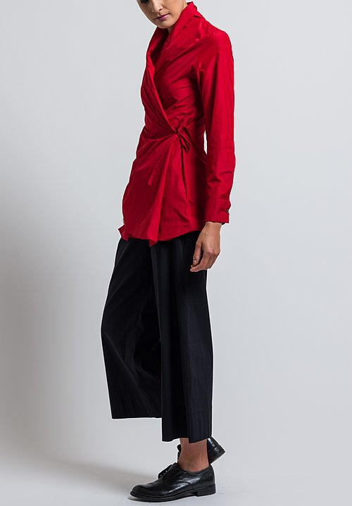 Peter O. Mahler Crash Tie Blouse in Red