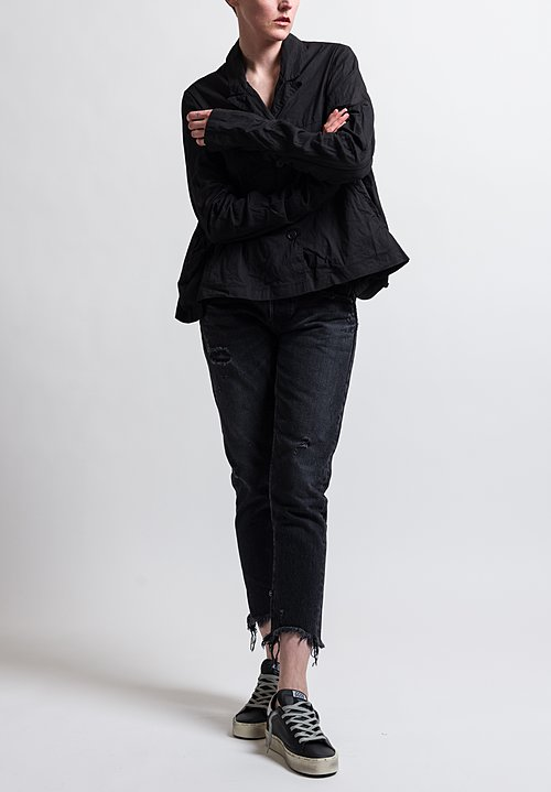 Rundholz Ruched Sleeve Oversized Jacket in Black