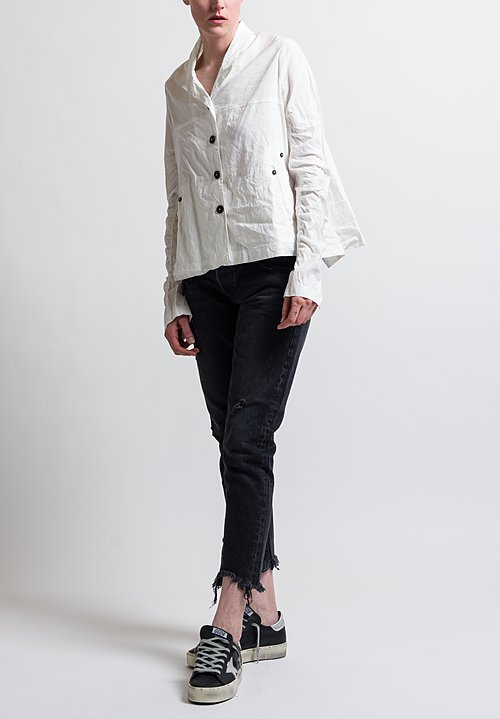 Rundholz Ruched Sleeve Oversized Jacket in Off White