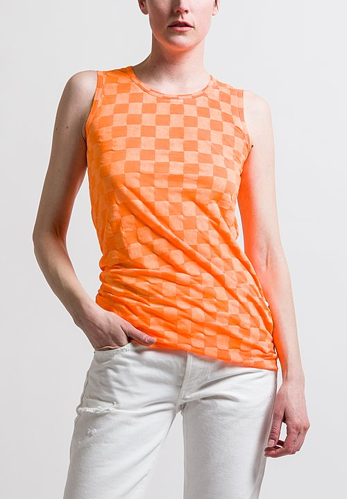 Rundholz Fitted Check Tank Top in Orange