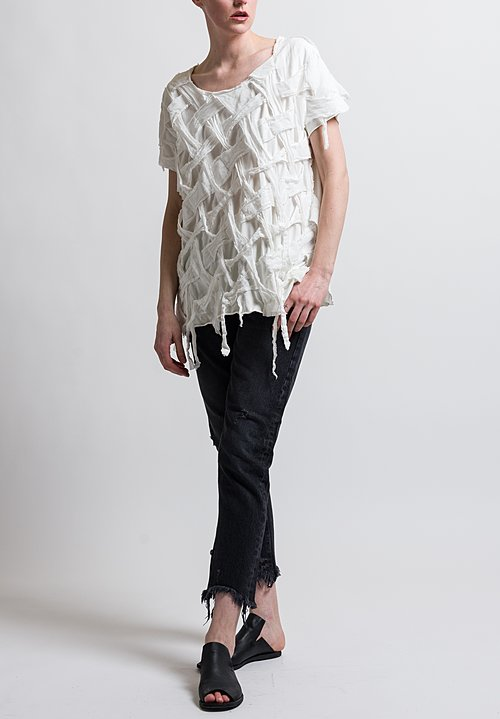 Rundholz Dip Basket Woven Top in White