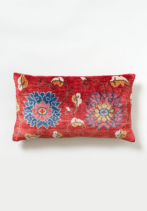 Tibet Home Hand Knotted & Woven Lumbar Pillow in Pema Red