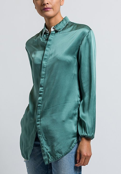 Umit Unal Relaxed Cuff Blouse in Jade